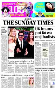 The Sunday Times (UK) Newspaper Front Page for 31 August 2014