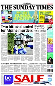 The Sunday Times Newspaper Front Page (UK) for 9 September 2012