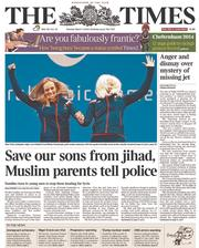 The Times (UK) Newspaper Front Page for 11 March 2014