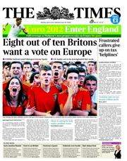 The Times Newspaper Front Page (UK) for 11 June 2012