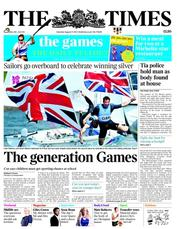 The Times Newspaper Front Page (UK) for 11 August 2012