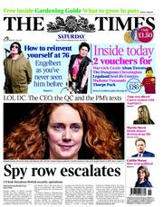 The Times Newspaper Front Page (UK) for 12 May 2012
