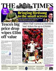 The Times () Newspaper Front Page for 13 January 2012