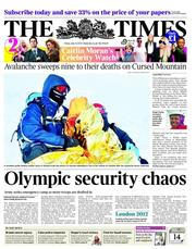 The Times Newspaper Front Page (UK) for 13 July 2012