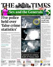 The Times () Newspaper Front Page for 15 November 2012