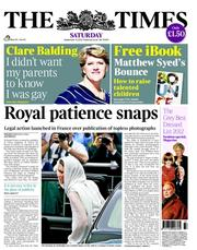 The Times Newspaper Front Page (UK) for 15 September 2012