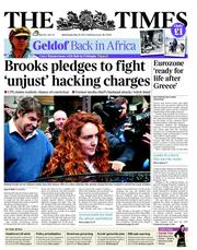 The Times Newspaper Front Page (UK) for 16 May 2012
