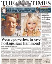 The Times (UK) Newspaper Front Page for 16 September 2014