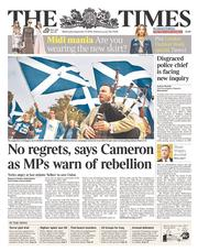 The Times (UK) Newspaper Front Page for 17 September 2014