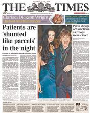 The Times (UK) Newspaper Front Page for 18 March 2014