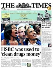 The Times Newspaper Front Page (UK) for 18 July 2012