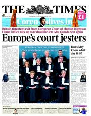 The Times Newspaper Front Page (UK) for 19 April 2012