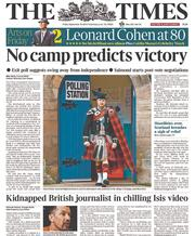 The Times (UK) Newspaper Front Page for 19 September 2014