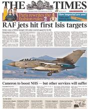 The Times (UK) Newspaper Front Page for 1 October 2014