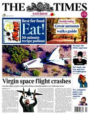 The Times (UK) Newspaper Front Page for 1 November 2014