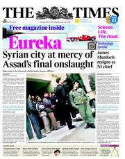 The Times (UK) Newspaper Front Page for 1 March 2012