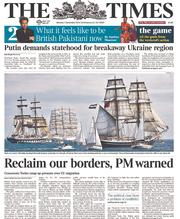 The Times (UK) Newspaper Front Page for 1 September 2014