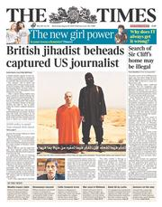 The Times (UK) Newspaper Front Page for 20 August 2014