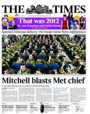 The Times Newspaper Front Page (UK) for 21 December 2012