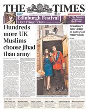 The Times (UK) Newspaper Front Page for 22 August 2014