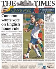 The Times (UK) Newspaper Front Page for 22 September 2014