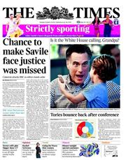 The Times Newspaper Front Page (UK) for 23 October 2012