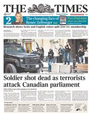 The Times (UK) Newspaper Front Page for 23 October 2014