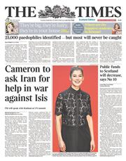 The Times (UK) Newspaper Front Page for 23 September 2014