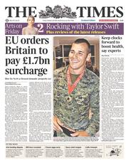 The Times (UK) Newspaper Front Page for 24 October 2014