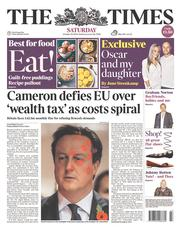 The Times (UK) Newspaper Front Page for 25 October 2014