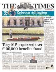 The Times () Newspaper Front Page for 25 February 2014
