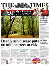 The Times Newspaper Front Page (UK) for 26 October 2012