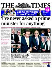 The Times Newspaper Front Page (UK) for 26 April 2012