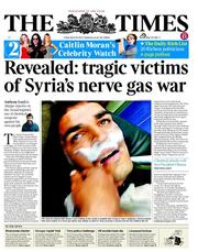 The Times () Newspaper Front Page for 26 April 2013