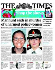 The Times Newspaper Front Page (UK) for 27 September 2012