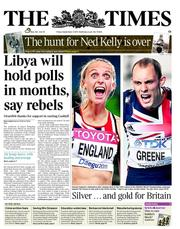 The Times (UK) Newspaper Front Page for 2 September 2011
