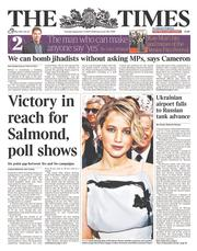 The Times (UK) Newspaper Front Page for 2 September 2014