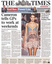 The Times (UK) Newspaper Front Page for 30 September 2014