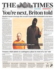 The Times (UK) Newspaper Front Page for 3 September 2014