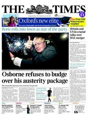 The Times Newspaper Front Page (UK) for 9 October 2012