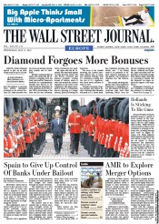 The Wall Street Journal Europe Newspaper Front Page (UK) for 11 July 2012