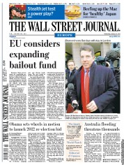 The Wall Street Journal Europe (UK) Newspaper Front Page for 12 January 2011