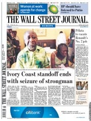 The Wall Street Journal Europe (UK) Newspaper Front Page for 12 April 2011