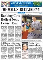 The Wall Street Journal Europe () Newspaper Front Page for 13 January 2012