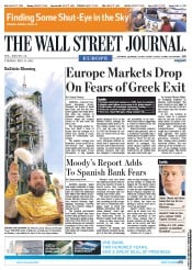 The Wall Street Journal Europe () Newspaper Front Page for 15 May 2012