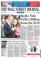 The Wall Street Journal Europe (UK) Newspaper Front Page for 1 March 2012
