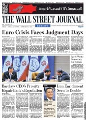 The Wall Street Journal Europe Newspaper Front Page (UK) for 1 September 2012