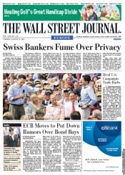 The Wall Street Journal Europe () Newspaper Front Page for 21 August 2012