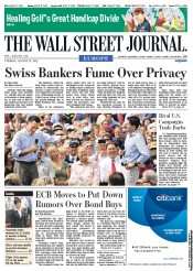 The Wall Street Journal Europe Newspaper Front Page (UK) for 21 August 2012