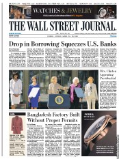 The Wall Street Journal Europe () Newspaper Front Page for 26 April 2013